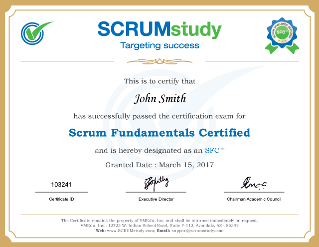 Scrum Fundamentals Certified (SFC™) Certificate